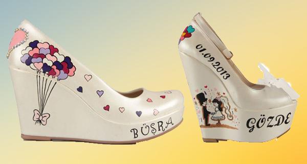 Dolgu Topuk Gelin Ayakkabısı modelleri
