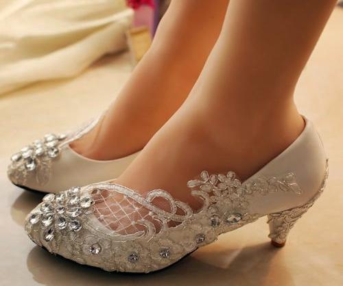 Kısa Topuklu Gelin Ayakkabı Modelleri