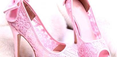 Pembe Fiyonklu Gelin Ayakkabısı Modelleri