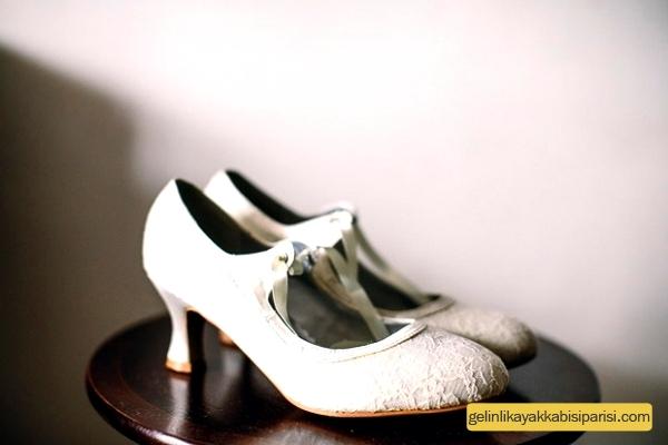 Dantelli gelin ayakkabısı / babeti modelleri